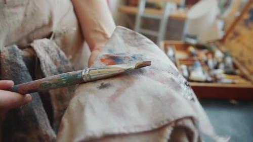 Female Artist Cleaning Paintbrush