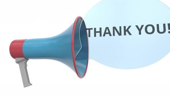 Thumbnail for Blue Loudspeaker with THANK YOU Message on Bubble
