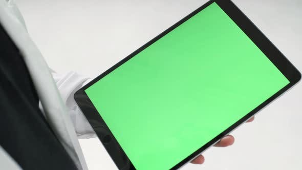 Thumbnail for Man Hands Holding A Tablet With Chroma Key