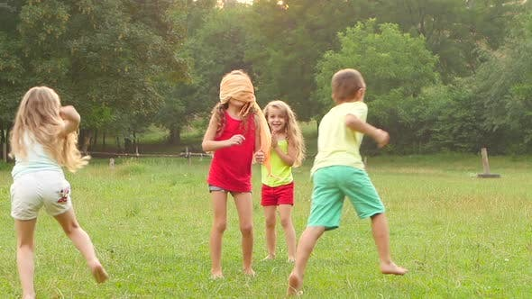 Thumbnail for Cheerful Children Playing Tag with Clapping on the Grass on a Summer Day. Slow Motion
