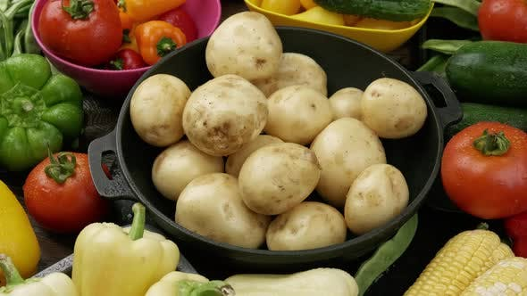Set of Raw Vegetables for Cooking Potato Vegetable Stew