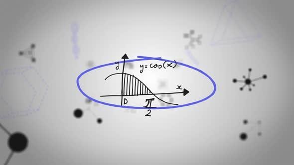 Animation de formules mathématiques manuscrites dans un cadre bleu dessiné à la main se déplaçant sur fond blanc