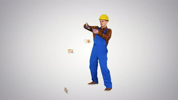 Thumbnail for Comic Builder in a Hard Hat Throwing Euro Money in the Air on Gradient Background.