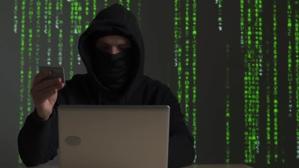 Thumbnail for Computer Hacker with Credit Card Stealing Data From a Laptop Concept for Network Security, Identity