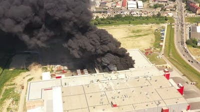 Burning meat processing plant