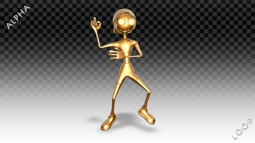 3D Gold Man - Cartoon Cheerful Dance