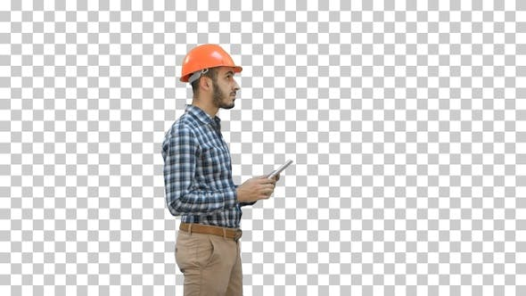 Contractor engineer in hardhat inspecting, Alpha Channel