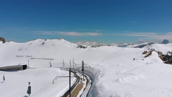 Panoramic View From the High Mountain To Snowy Peaks in Switzerland Alps, Rochers-de-Naye