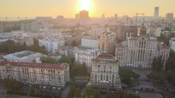 Thumbnail for Ukraine, Kyiv : City Center in the Morning at Sunrise, Aerial View, Kiev