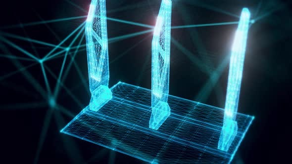 Security Gates Hologram Close Up 4K