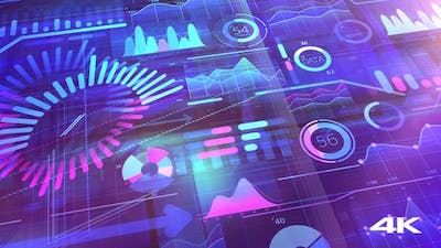 Bright Color Corporate Background With Infographics 4K