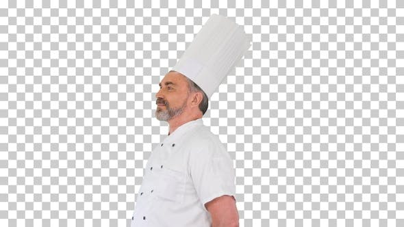 Confident caucasian chef standing doing nothing, Alpha Channel