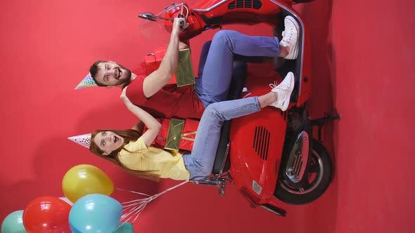 Funny Friends Ride a Scooter, Motorcycle Deliver Balloons and Birthday Gifts, Isolated Red