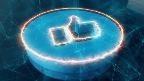 Thumbnail for Soziale Medien wie Icon im digitalen Cyner-Raum mit Plexus-Netzwerkverbindungselementen 4k