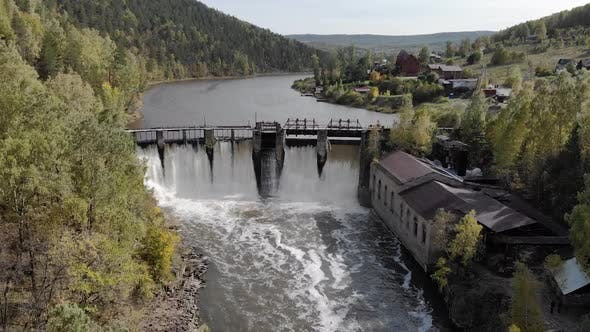 Aerial View Drone Flying Over Old Dam with Obsolet Stone Walls Culture Heritage