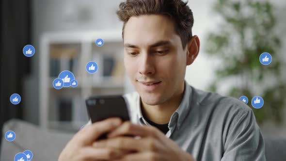 Man is Getting Likes with Smartphone