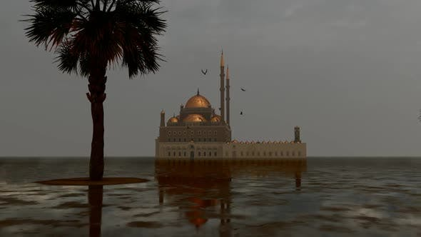 Rain in Front of the Grand Mosque