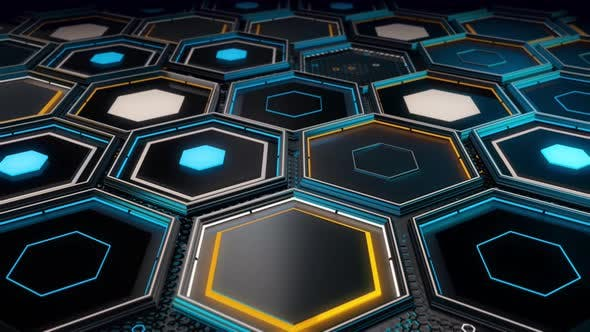 Thumbnail for Close up of futuristic surface with hexagons