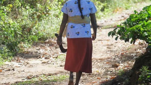 Woman Having Braid with Machete Walks Along Sunny Road