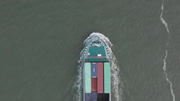 Cover Image for Bird's Eye View of a Cargo Shipping Container Ship at Sea