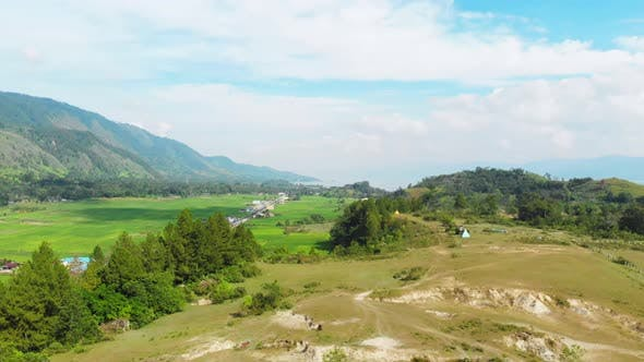 Thumbnail for Aerial: lake Toba and Samosir Island view from above Sumatra Indonesia. Huge vol