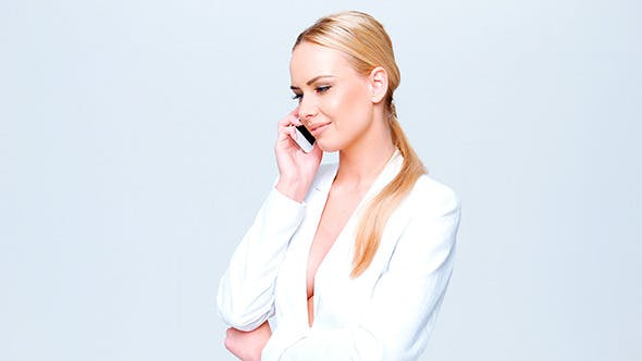 Adorable Business Woman Talking Cell Phone