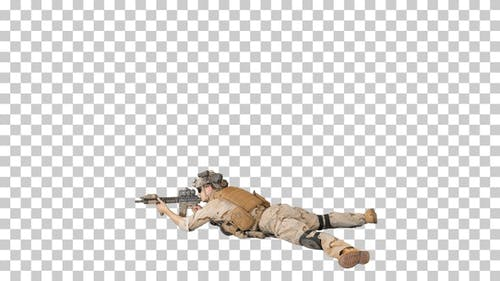Soldier taking lying position and aiming, Alpha Channel