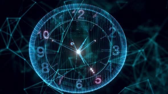 Wall Clock Hologram Close Up 4k