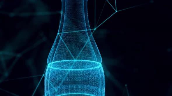 Unbranded Glass Soda Bottle Hologram Close Up 4k