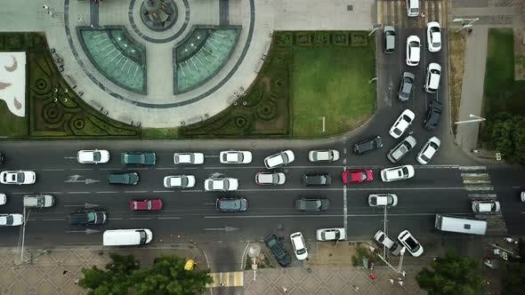 Thumbnail for Aerial Top Down View of Freeway Busy City Rush Hour Heavy Traffic Jam Highway.