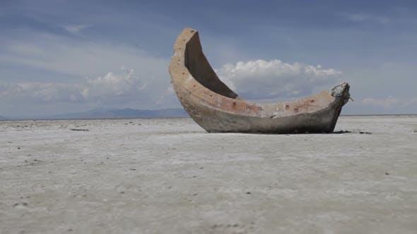 Thumbnail for Slider shot of a strange cement object at the Utah Salt Flats.