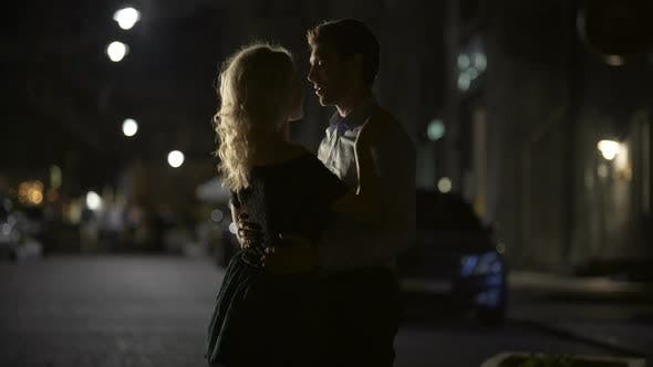 Cover Image for Couple of Lovers Dancing in Empty Night Street, Dating and Love, Seduction