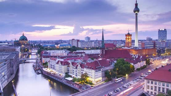 Berlin twilight skyline during sunset timelapse, Germany
