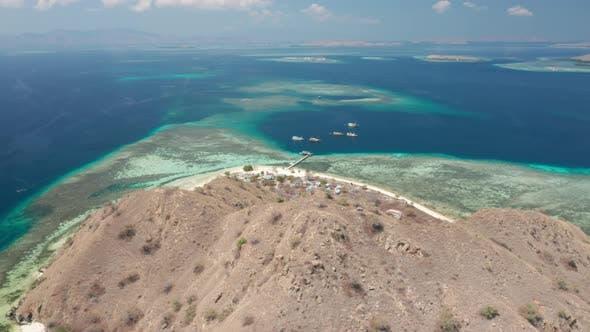 Drone Over Beach And Hills Of Kanawa Island