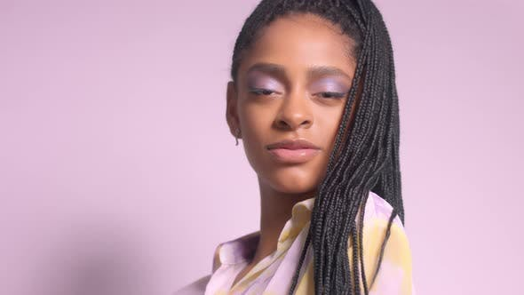 Thumbnail for Mixed Race Model with African Hair Braids in Studio Portrait