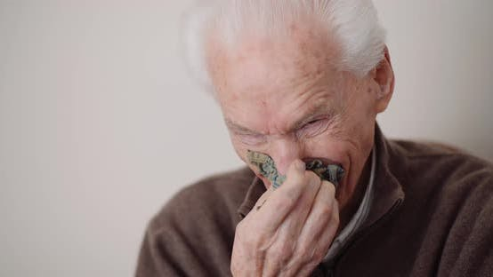 Thumbnail for Senior Man Has Cold Snot and Sneezing