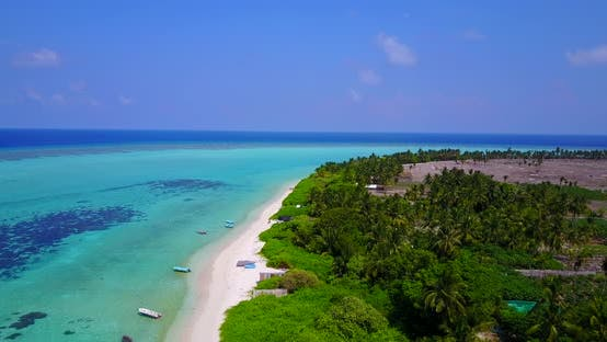 Thumbnail for Luxury aerial abstract shot of a white paradise beach and aqua blue water background in high resolut