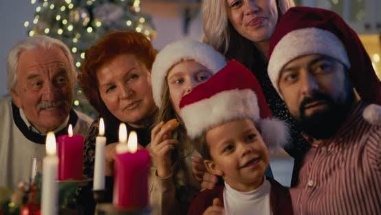 Thumbnail for Happy Family Taking Selfie on Christmas Dinner