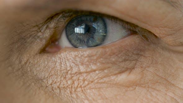 Thumbnail for Close Up of Blinking Senior Woman Eye 61