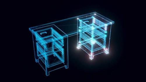 Wooden Desk Hologram 4k