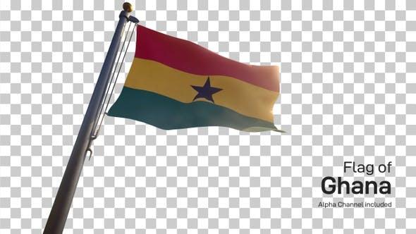 Ghana Flag on a Flagpole with Alpha-Channel