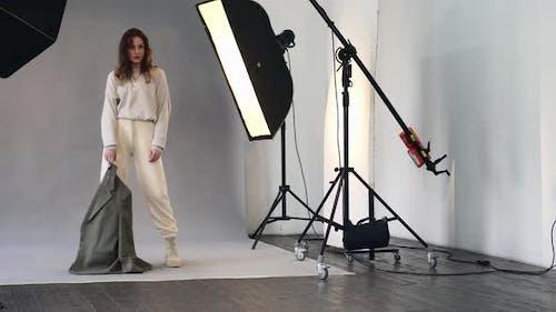 Female Model Posing at Studio During Photo Shoot