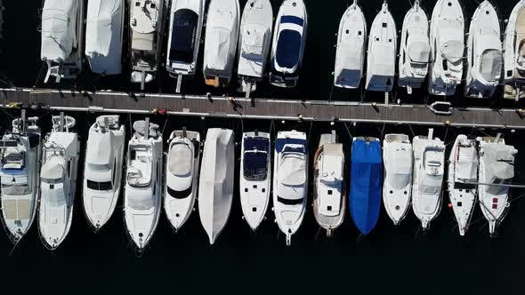 Aerial View of Boats and Small Yachts in Marina