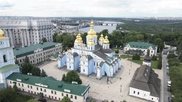Thumbnail for The Architecture of Kyiv. Ukraine: St. Michael's Golden-Domed Monastery. Aerial View. Slow Motion