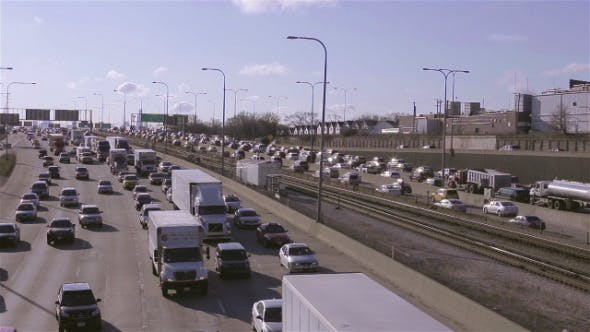 Thumbnail for Morning Highway Traffic Commute in City of Chicago