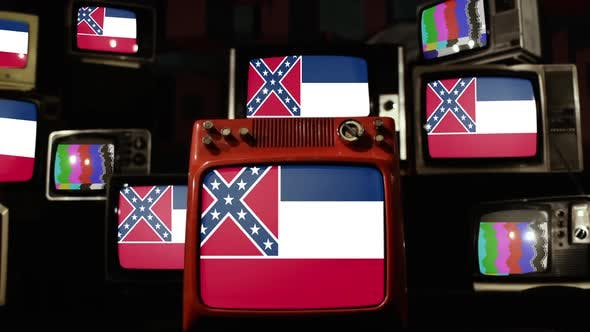 Flag of the US State of Mississippi on Retro TVs.