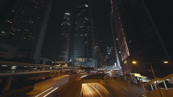 Thumbnail for Hong Kong, China, Video - Car trails filmed downtown at night