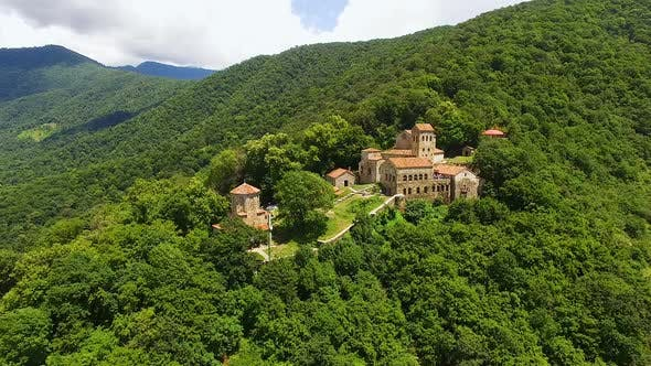 Thumbnail for Stunning panorama of old Nekresi monastery, sightseeing in Georgia, aerial view