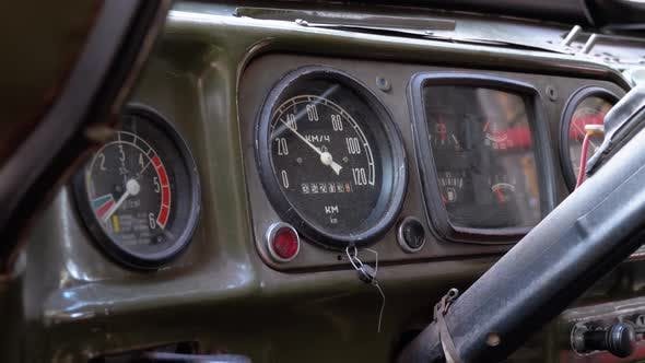 Old Truck Dashboard, Speedometer, and Other Indicators Vintage Military Vehicle