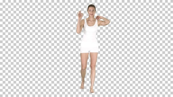 Thumbnail for Young Blonde Woman with Happy Face Smiling Doing Ok Sign Alpha